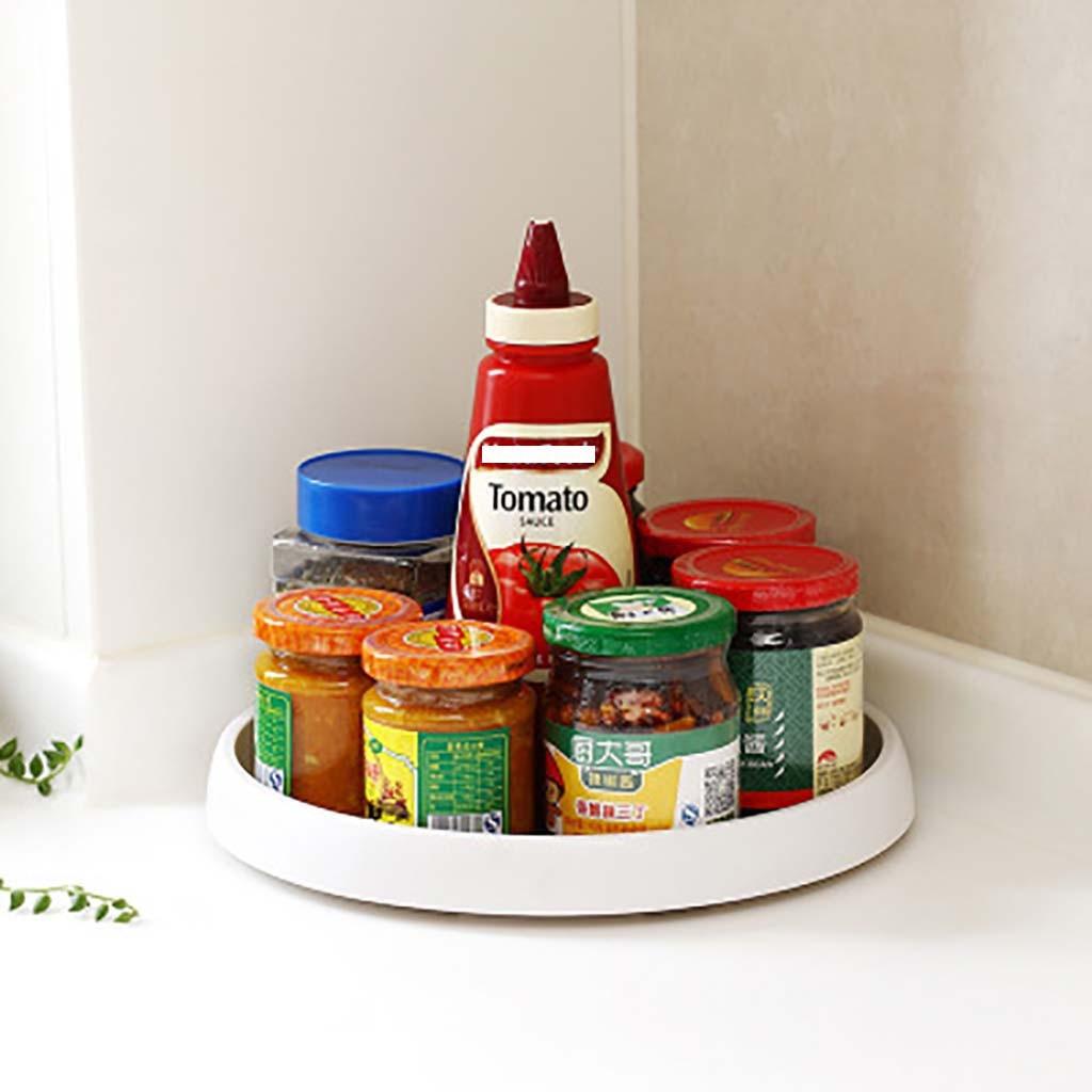 ISHOWTIENDA Marco de esquina giratorio para almacenamiento de condimento bandeja de almacenamiento de Cocina Organizador de Cocina