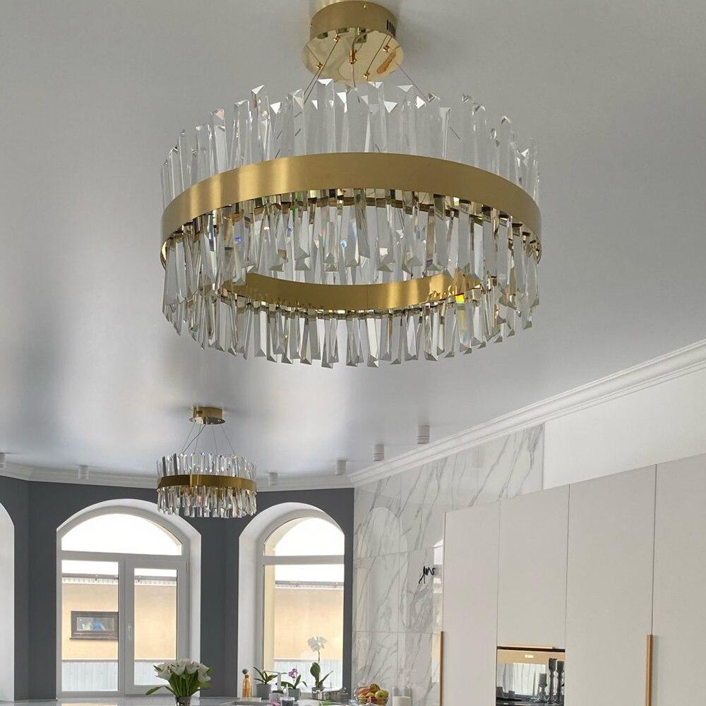 Grande Vendita 18 Di Sconto Lampadario Moderno Per Camera Da Letto Rotonda Lampadari A Led In Cristallo Oro Cromo Per Soggiorno Sala Da Pranzo Corridoio Lampada Per La Casa