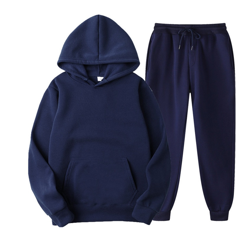 Tracksuits Men's Sets Solid Color Casual Sets Autumn Winter Men's Hoodies And Pants Two-Piece Trendy