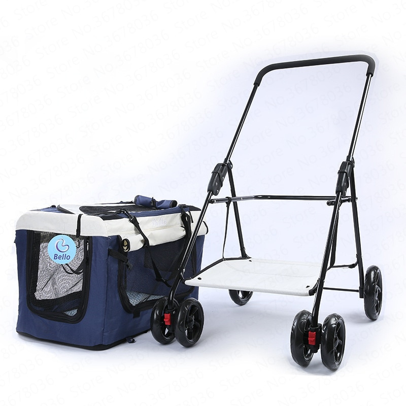 Pet Stroller Baby Car Cage Four Wheel Outdoor Teddy Cart Light Portable Folding Bike Bag Separation Dog Cat Stroller Car Seat