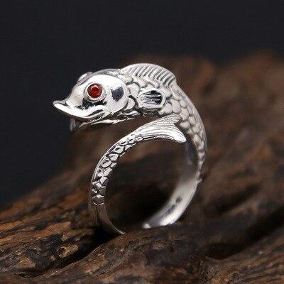 Anillo de Plata de Ley 925, bonito pez dorado, piedra natural ajustable, anillo grande de boda, joyería