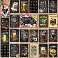 YZFQ    Cocktails Signes de Mur En Metal Bar Restaurant Gym Maison Art Decor de Cinema DU-8174B