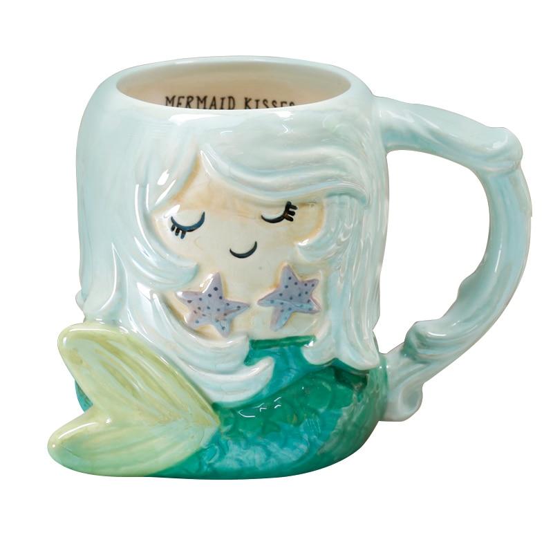 500ML Cute 3D Animal Mermaid Tail Coffee Cup Large Capacity Hand Painted Cartoon Ceramics Breakfast Milk Mug