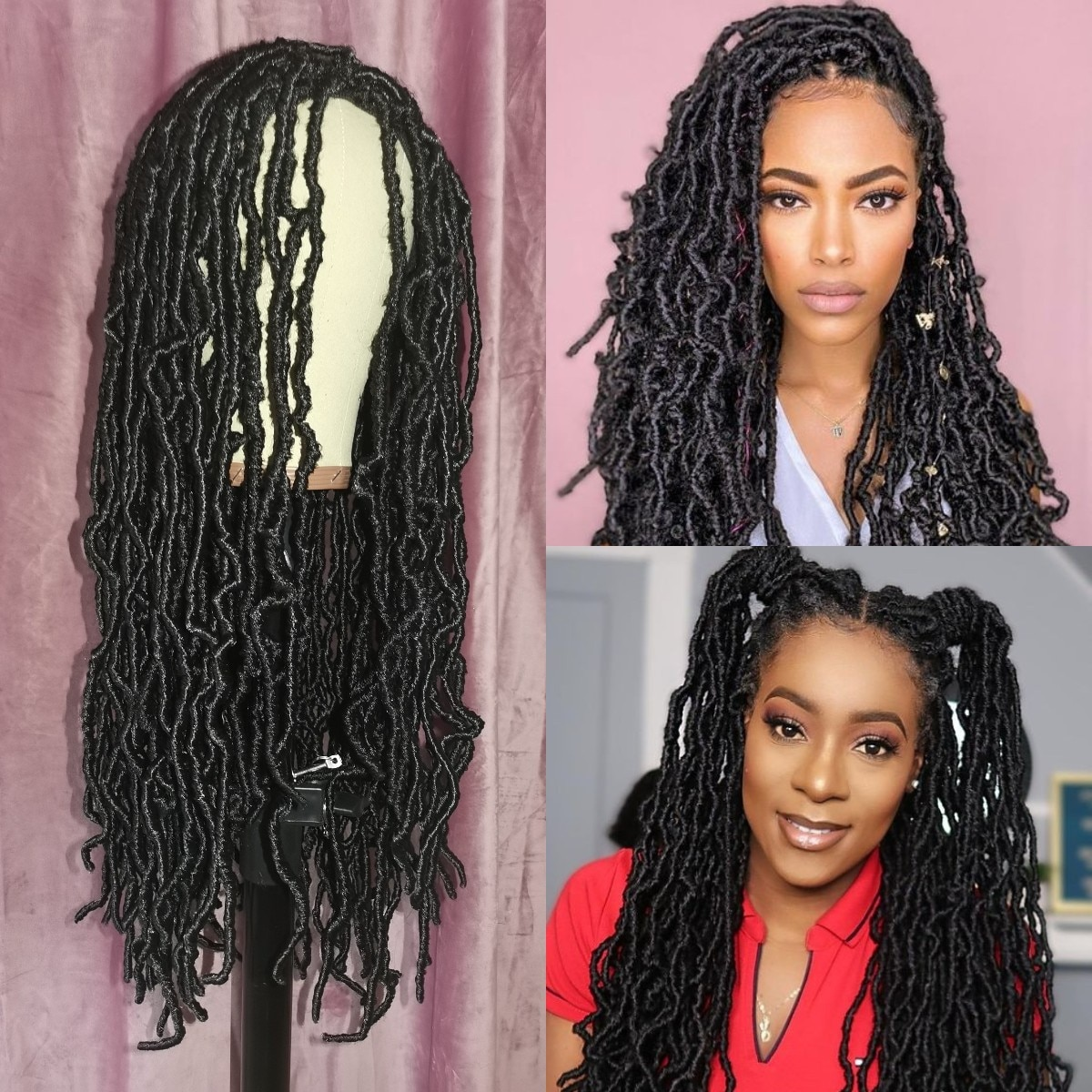 Braided Wigs Faux Locs Nu Soft Godness Locs Wig Natural Style Heavy Handmade Micro Braids Synthetic Hair Long Braiding Hair Wigs