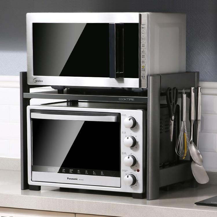 Estante de horno estante de 2 capas de doble capa espacio de aluminio condimento encimera de cocina para el hogar microondas