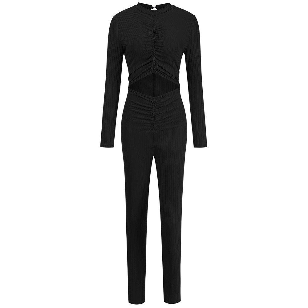 Bulk Wholesale Items Lots Solid Ruched One Piece Sporty Overall Casual Full Sleeve Hollow Out Tight Outfit Activewear Clothing enlarge
