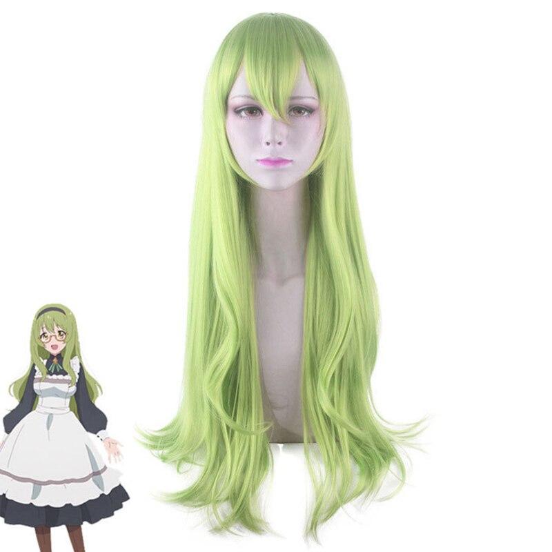 Princess Connect! Re:Dive Karin Wigs Cosplay Costume Green Long Curl Heat-resistant Fiber Hair Peluca Karin