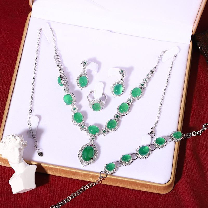LETSFUN 4pcs 925 Sterling Silver Natural Vintage Green Jade Gemstone Beads Rings Necklace Bracelet Earrings Set luxurious Bijout