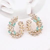 lubov bohemia handmade crystal acrylic leaf stud earring for women date gift wholesale jewerly