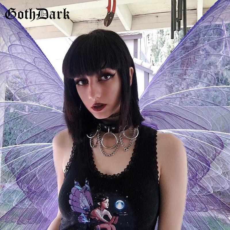 Goth Dark de encaje picante gótico sin mangas verano Mujer Tops e-girl vendaje estampado moda estética Sexy Grunge Crop Top Chic 2020