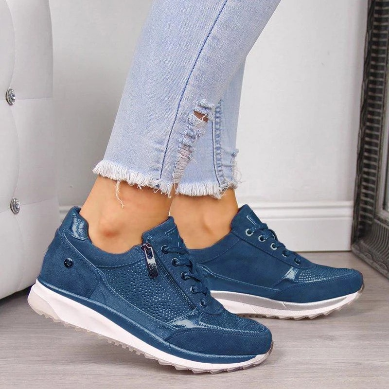 Frauen Schuhe Keil Flache Schuhe Neue Mode Gold Sneakers Zipper Plattform Trainer Frauen Schuhe Casual Lace-Up Frauen Turnschuhe