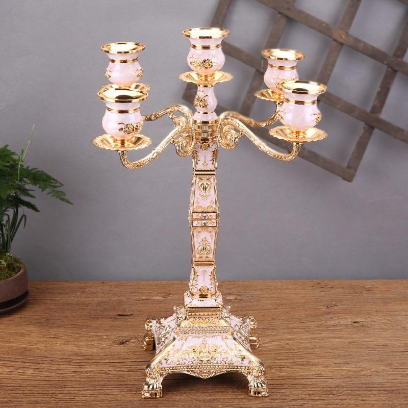 European table Candlestick decoration glass retro Western food metal light luxury candlestick wedding decoration