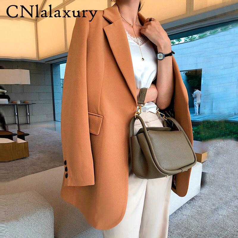 جاكيت نسائي أنيق ، جاكيت كاجوال كوري ، مقاس كبير ، معطف أسود ، ملابس خارجية ، مجموعة خريف 2020 الجديدة