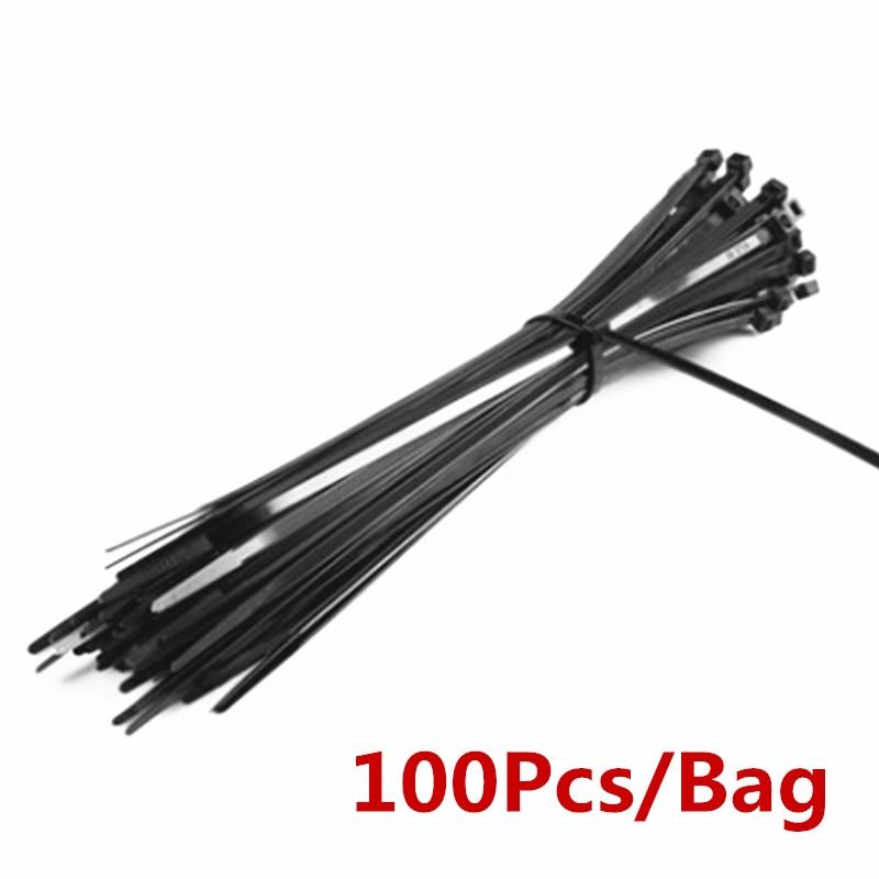100 Uds 3X60/80/100/120/150/200mm 4X150/200/250/300 Cable negro de tirantes auto bloqueo de Cable de Nylon corbata