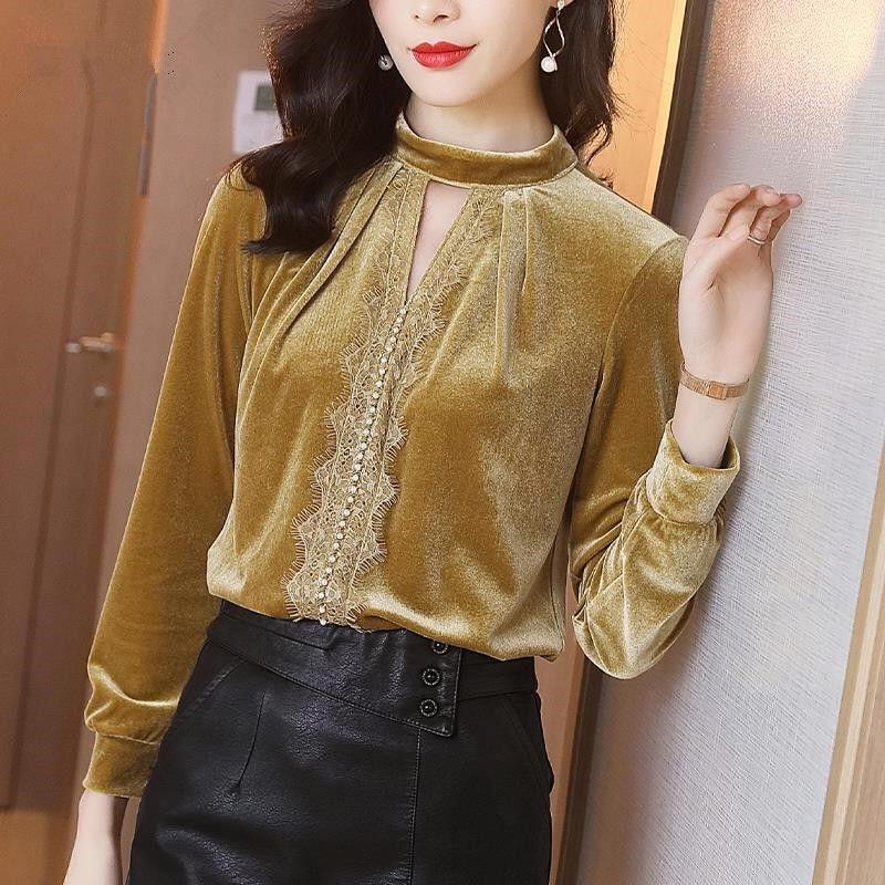 Coréen printemps automne mode femmes dentelle Patchwork col en V gingembre velours chemise haute, femme perles chemises femmes velours hauts