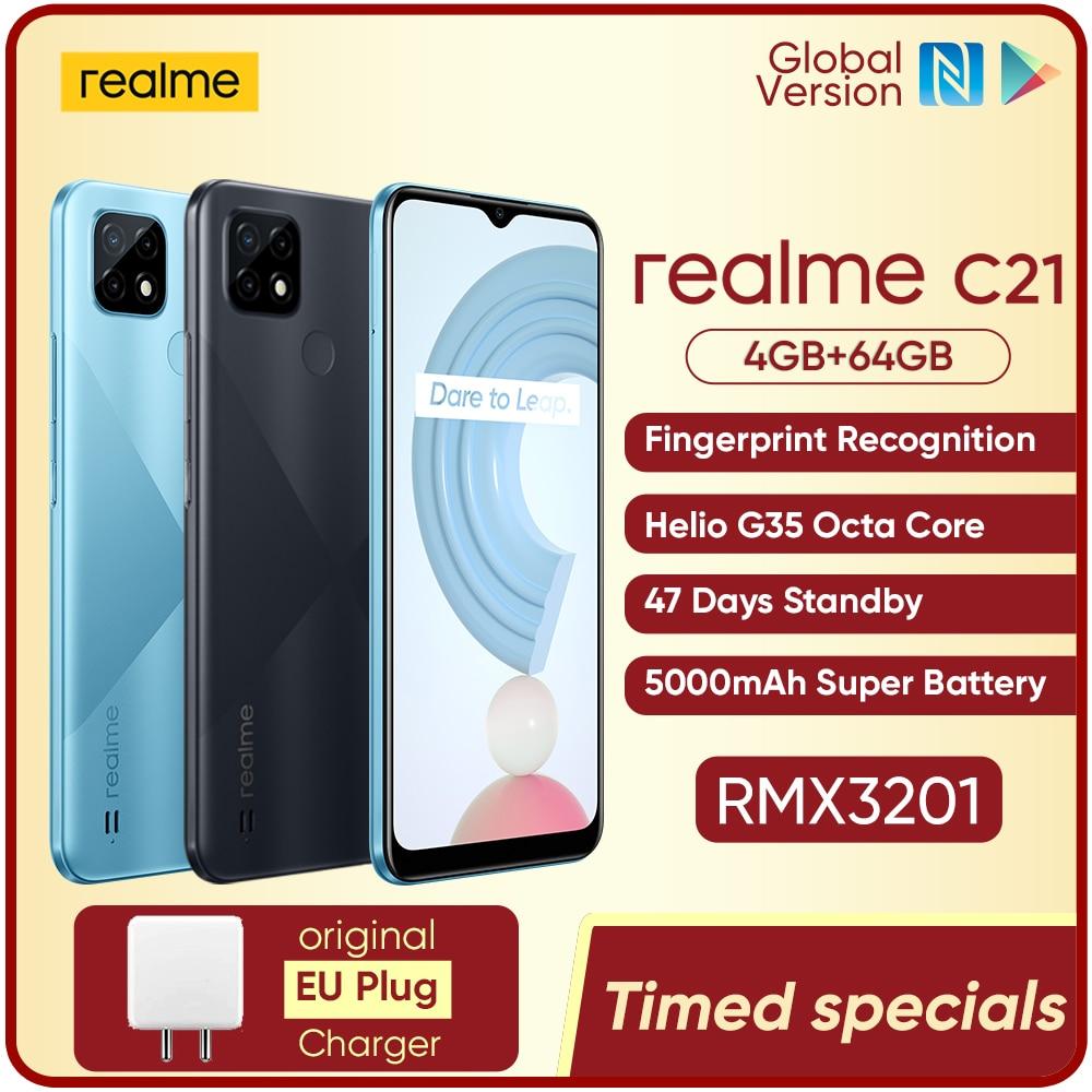 realme C21 Global Version Smartphone Helio G35 Octa Core 4GB 64GB 6.5