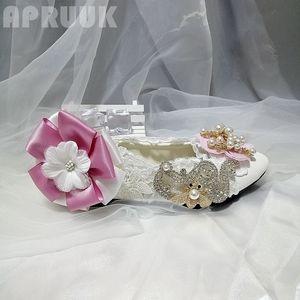 Luxury crystal rhinestones pink flower flats shoes woman handmade plus size fairy sweet design women's bridal wedding/party shoe