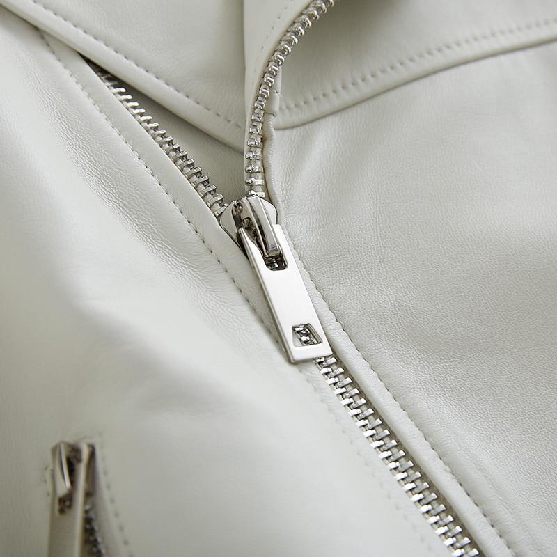 Nerazzurri White black leather biker jacket women long sleeve zipper Faux leather jackets women Plus size moto jacket women 5xl enlarge
