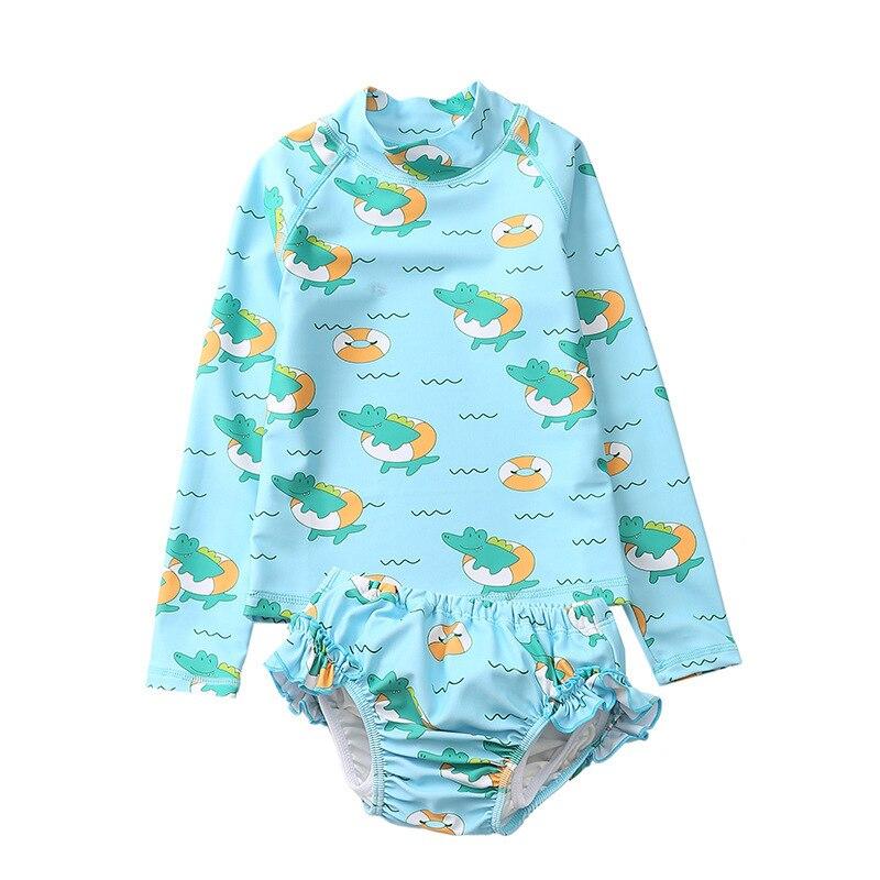Baby&Toddler Girl Diaper Swimsuit Two Piece Long Sleeve UPF50+ Swimming Pool Diaper Children Swimwear UV Sunsuit For 1-4 Years