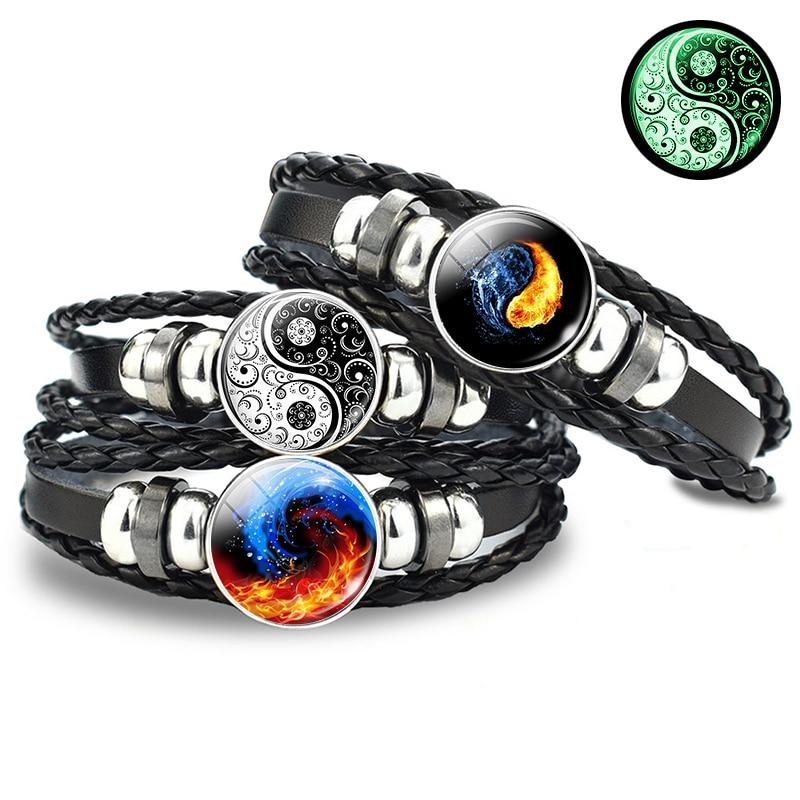 Светящийся кожаный браслет Yin Yang, винтажный плетеный браслет Tai Chi, кунг-фу, с пуговицами, аксессуары ручной работы для мужчин и женщин