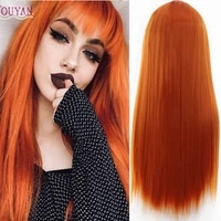houyan ladies long straight hair orange black synthetic high temperature wig with bangs daily party wear