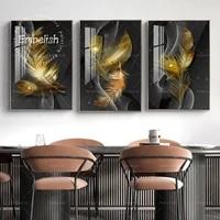 Plumes dorees pour bureau  1 piece  peinture sur toile HD  Spray pour salon  decoration de maison moderne  images murales