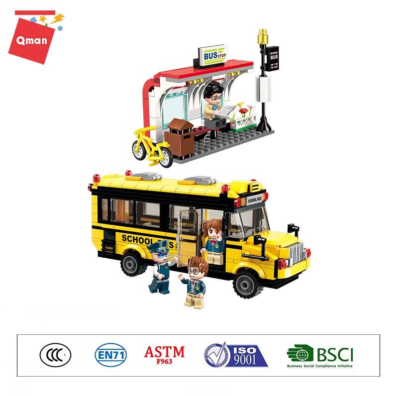 Bloques de construcción educativos Qman 1136, figuras técnicas de bloques de construcción Mini City, juguetes de Arquitectura para niños