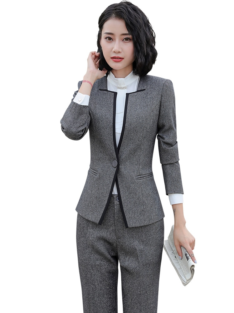 Damen Grau/Schwarz Blazer frauen Anzug Formale Büro hosen Anzüge Arbeiten Wear Hose mit Jacke Sets OL stile kostüme