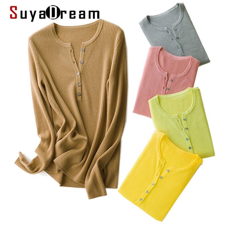 SuyaDream, suéteres de lana para mujer, jerséis 100% de lana con cuello redondo, sudaderas de punto de manga larga con Rib sólido, camisa Polo de otoño invierno 2020