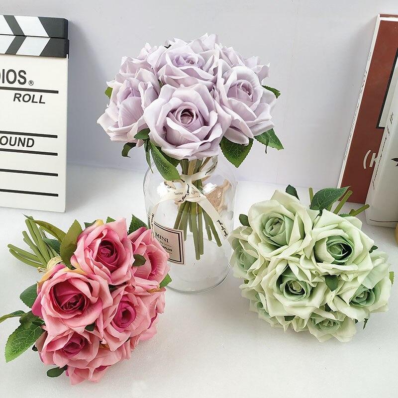 7 unids/lote ramo de rosas artificiales ramo de novia de boda flor de seda Artificial fiesta decoración del hogar regalo del Día de San Valentín
