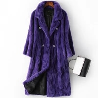 winter fashion real mink fur parka coats for women long jacket purple natural fox fur collar hooded overcoat female luxury