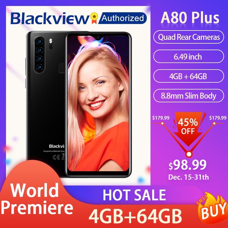 Перейти на Алиэкспресс и купить Blackview A80 Plus смартфон 6,49 ''Экран Android 10 MT6762V/WD, четыре ядра, 4 Гб Оперативная память 64 Гб Встроенная память Мобильный телефон NFC 4680 мАч мобильный т...