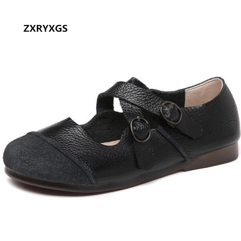 2021 Autumn Genuine Leather Splicing Retro Shoes Women Flats Casual Comfortable Mother Shoes Cross B