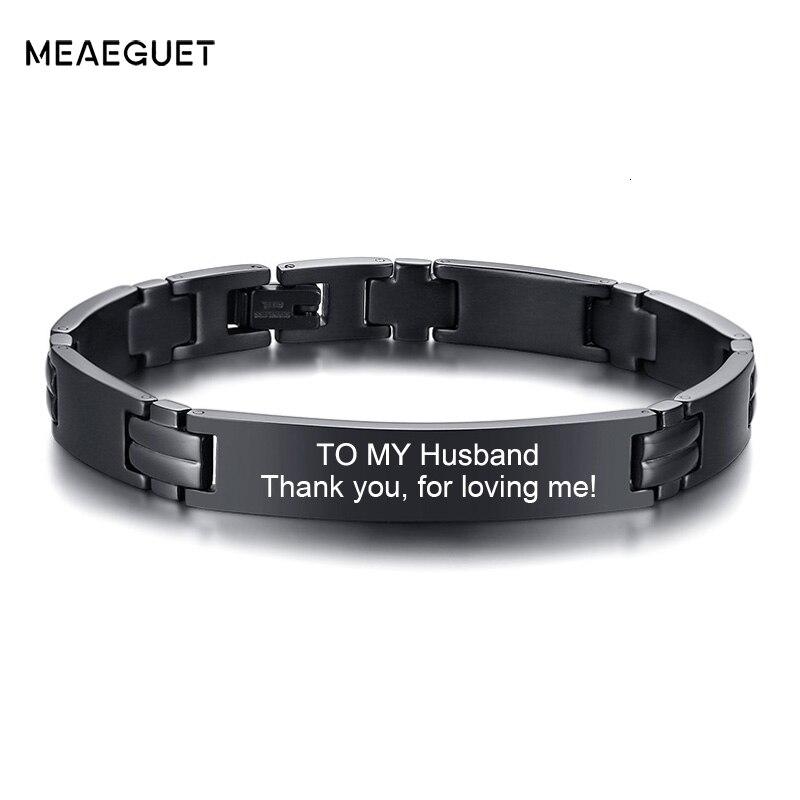 Pulsera de acero inoxidable personalizada, pulsera con grabado Quoto para hombre, regalos para mis maridos, triangulación de envío, grabado gratis