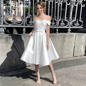 Satin Wedding Dresses for Women 2021 Knee Length Off the Shoulder A-Line Simple Bride Dress Beach Bridal Gowns Vestido De Noiva