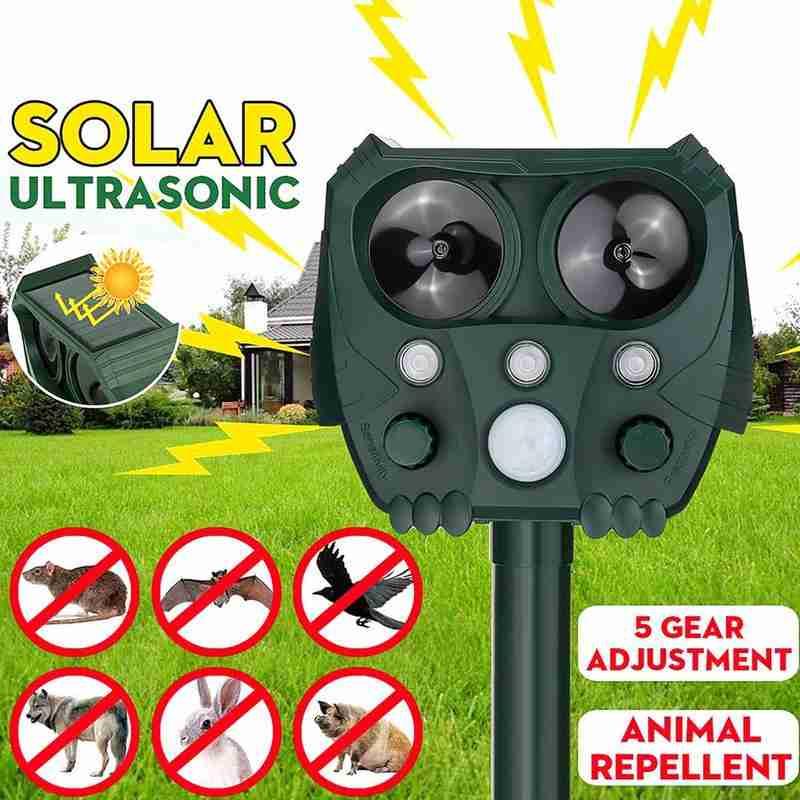Solar Animal Repeller Ultrasonic Infrared Light Flash Drive Dog & Cat Multifunctional Animal Repelle