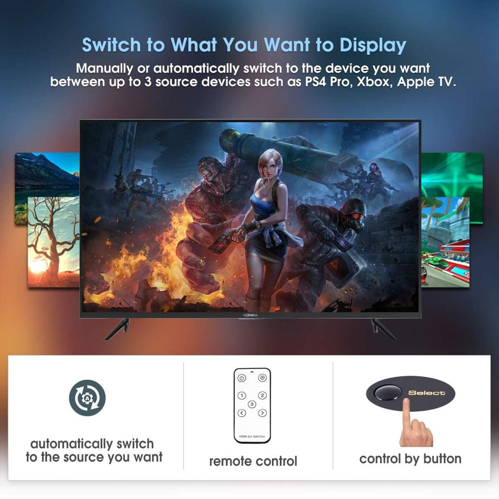 3 in 1 Out HDMI 2.0 Switch 4K 60Hz HDR HDCP 2.2 Dolby Vision 1080P 3D, 3x1 5 Ports HDMI 2.0 Switcher with IR Remote enlarge