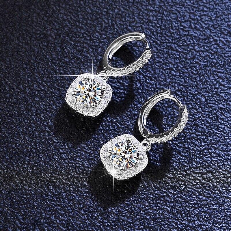 الفضة مجموع 2 ct ممتاز قص الماس اختبار مرت D اللون عالية الوضوح مويسانيت برغي عودة إسقاط أقراط فضة 925 مجوهرات