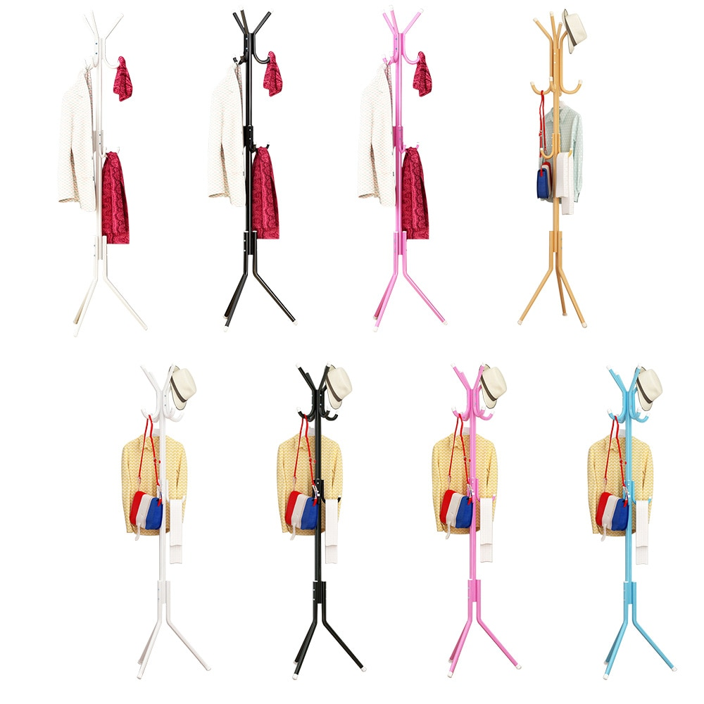 Clothes Hanger Tree Shaped Hat Coat Rack Metal Steel Tube Coat Hanger Saving Space Handbag Scarf Storage 9/12 Hook Clothes Stand