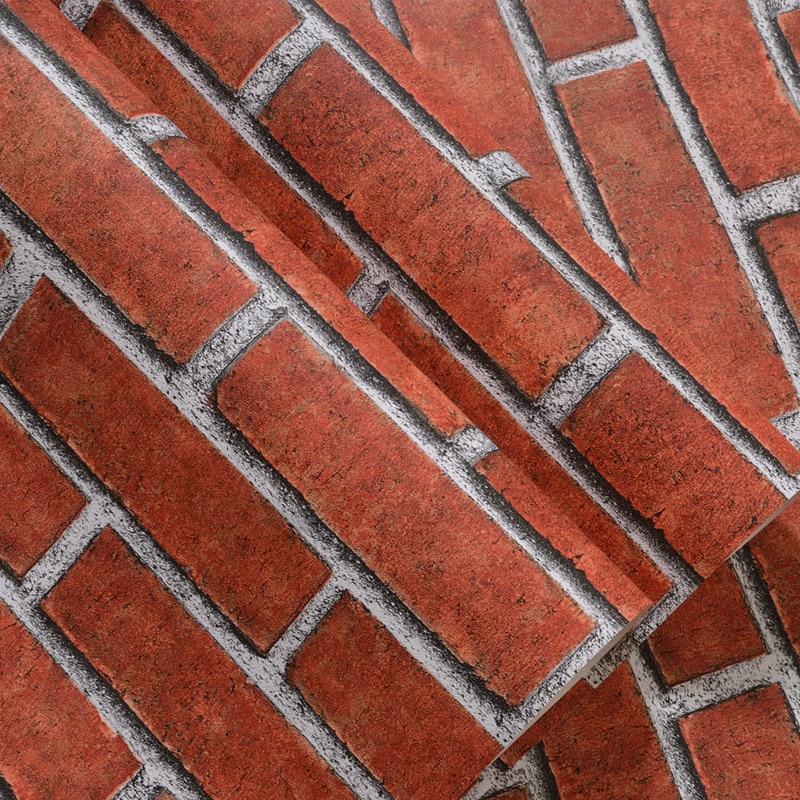 KANMANNI Wall Decoration Modern Minimalist Wall Sticker Brick Pattern Retro Red Brick Gray Brick Instant Self-adhesive Wallpaper