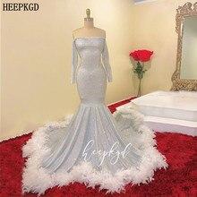 Brillant argent manches longues saoudien arabe robes de bal avec plumes blanches sirène grande taille Occasion spéciale robe sur mesure
