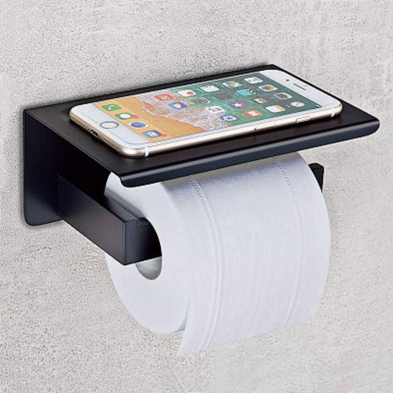 Soportes de papel higiénico de acero inoxidable con soporte para teléfono de...