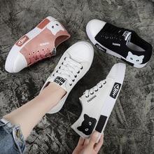 2020 mode dames chaussures plates respirant toile dentelle vulcanisé chaussures hiver mignon dessin animé chat étudiant chaussures décontractées