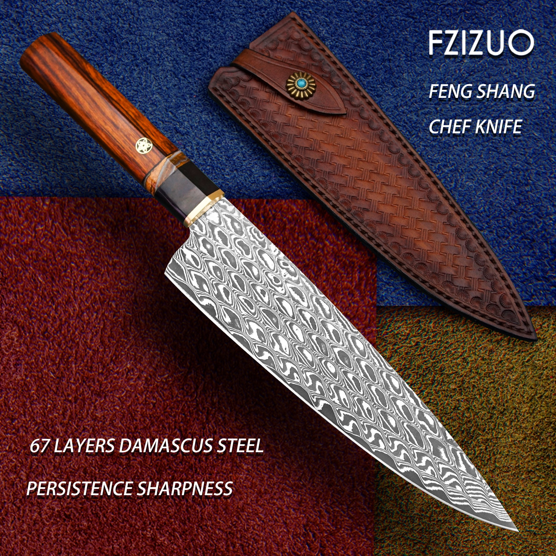 FZIZUO-سكين مطبخ احترافي من الفولاذ الدمشقي ، سكين مع غمد ، سكاكين خضروات ، أدوات مطبخ Gyuto ، صناعة يدوية