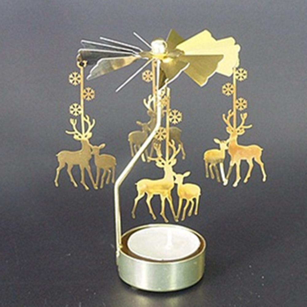 Caliente girando giratorio de Metal carrusel candelero para lamparilla soporte de luz de navidad regalo candelabros decorative de velas candelabros