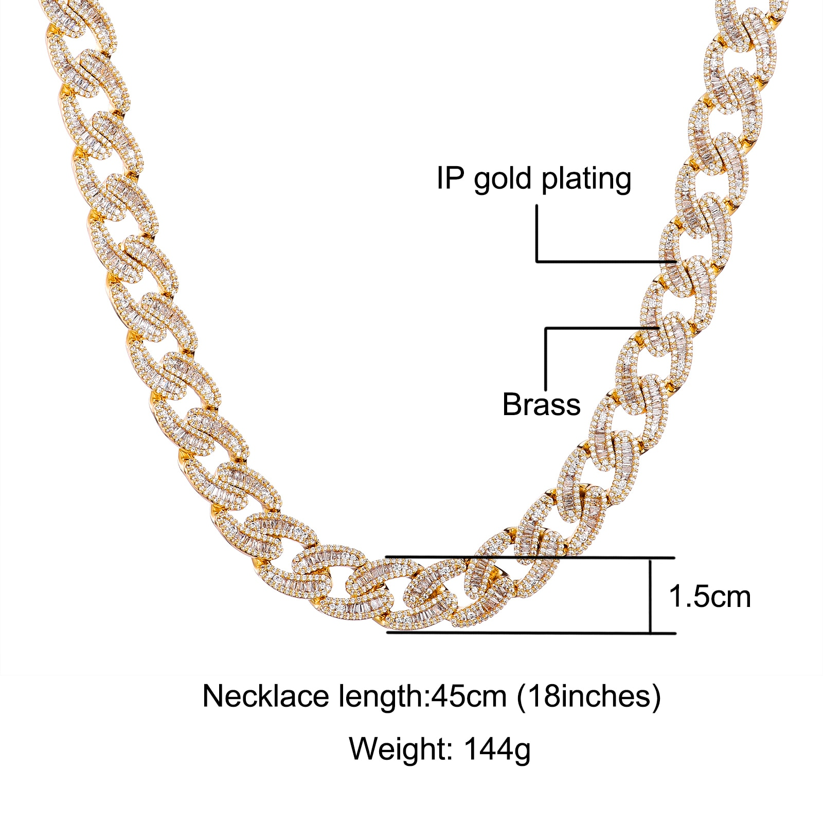 D&Z New 15mm Baguette Cuban Link Chain Spring Buckle Bling Iced Out Cubic Zirconia Necklace With Solid Back For Men Jewelry