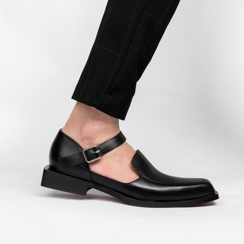 osco 2018 spring summer men shoes youth business british black casual genuine leather breathable dress office shoes men oxford Genuine Leather Sandals Summer Men Dress Shoes Fashion Square-Toe business sandals Hollow Breathable British Trend Men's Sandals