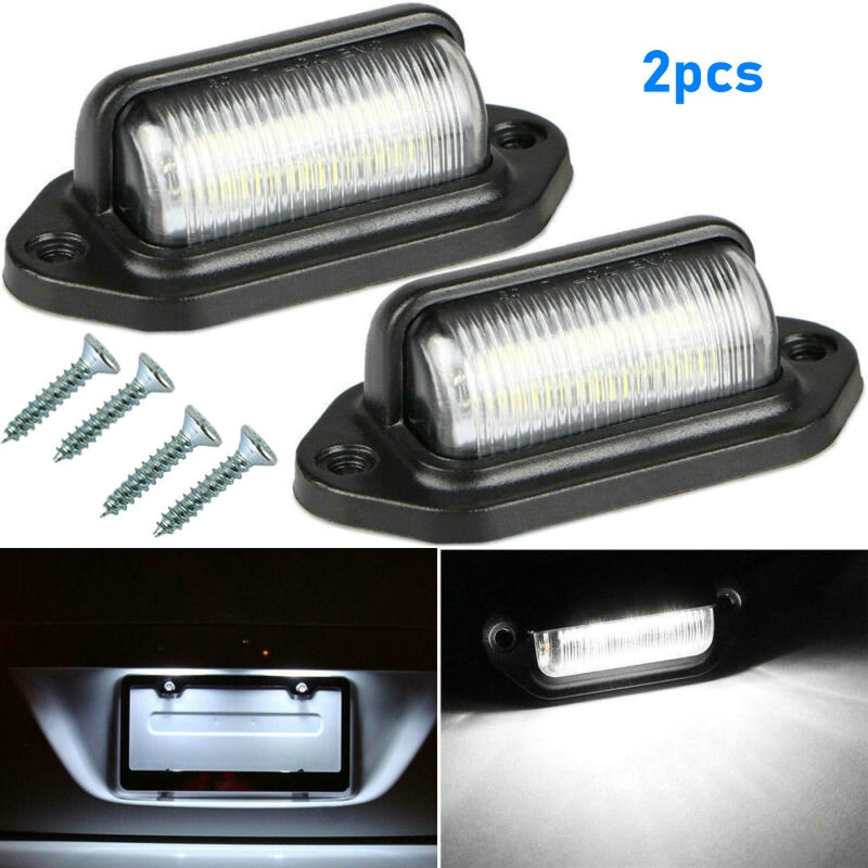 2Pcs 6-LED Car License Plate Lights Boat Truck Trailer Step Lamps Car Accessories Parts 12V Replacem