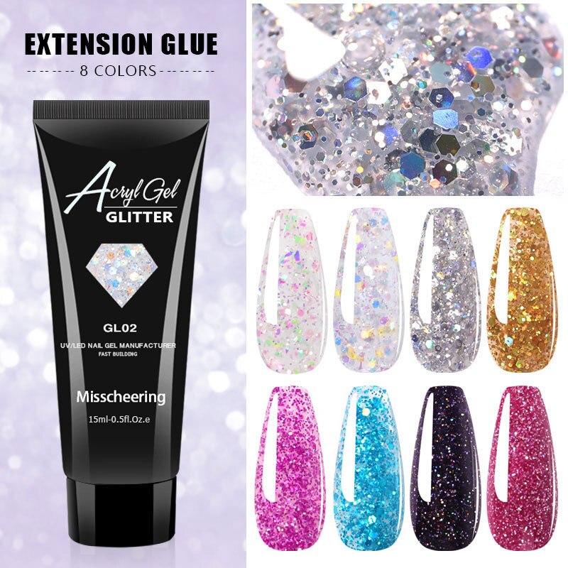 15ml Misscheering Extenion gel Nagel Acryl Harte Gel Glitter Klar Kristall Gel Nagellack UV Builder Tipps Verbesserung TSLM1