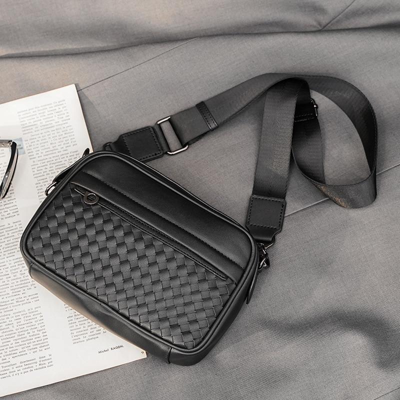 Роскошные тканые кожаные сумки-мессенджеры, мужские сумки на плечо, модные дизайнерские мужские сумки через плечо, Мужские Деловые Сумки из...